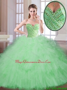 Perfect Spring Apple Green Quinceanera Gowns with Sweetheart for 2016