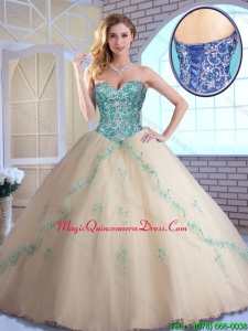 Pretty Champagne Quinceanera Dresses with Appliques and Beading for 2016