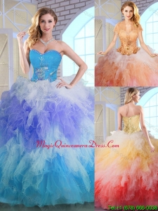 Classic Winter Appliques and Ruffles Quinceanera Dresses in Multi Color