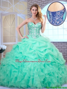 Fashionable Apple Green Quinceanera Dresses with Beading and Ruffles