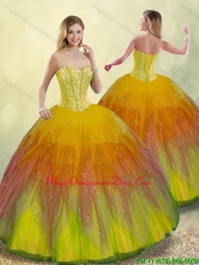Fashionable Beading Quinceanera Gowns with Floor Length for 2016