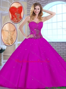 Fashionable Hot Sale Appliques Fuchsia Quinceanera Dresses with Sweetheart
