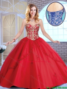 Fashionable Red Sweetheart Sweet 16 Dresses with Beading and Appliques