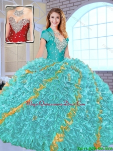 Modest Beading Sweetheart Quinceanera Gowns in Multi Color