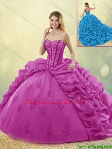 Best Selling Brush Train Beading Detachable Quinceanera Dresses in Fuchsia