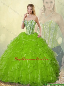 Gorgeous Sweetheart Detachable Quinceanera Dresses Beading and Ruffles for 2016