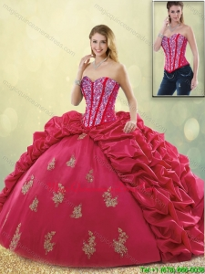 Latest Brush Train Beading Detachable Sweet 16 Dresses in Coral Red
