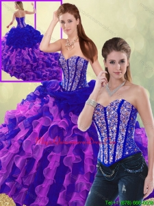 Exclusive Multi Color Brush Train Detachable Quinceanera Dresses