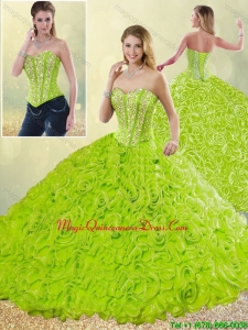 Modest Rolling Flowers Detachable Quinceanera Gowns with Sweetheart for 2016