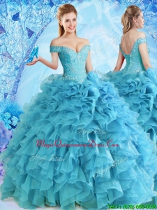 2017 Elegant Beaded and Ruffled Quinceanera Dress in Baby Blue