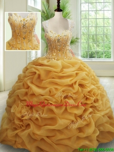 Visible Boning See Through Back Brush Train Beaded Quinceanera Dress in Gold