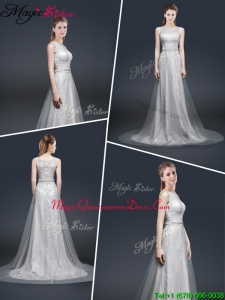 Elegant Empire Bateau Dama Dresses with Brush Train