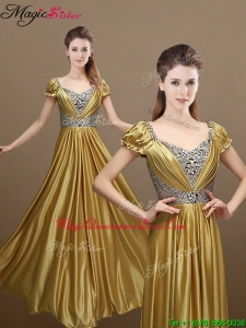 Elegant Empire Short Sleeves Beading Dama Dresses for 2016