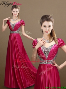 Pretty Empire V Neck Beading Dama Dresses with Short Sleeves
