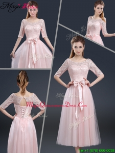 2016 Elegant Tea Length Dama Dresses with Lace and Bowknot