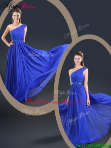 Cheap 2016 One Shoulder Blue Dama Dresses with Belt