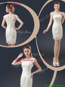 Elegant Mini Length Cap Sleeves Dama Dresses with Appliques