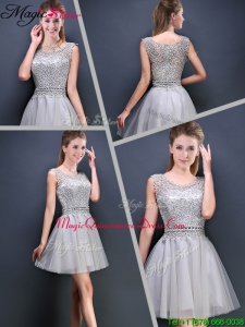 Perfect Mini Length Scoop Dama Dresses with Appliques