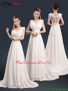 Pretty V Neck Empire Dama Dresses with Appliques