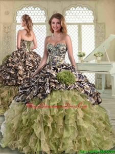 2016 Perfect Camo Quinceanera Dresses with Pick Ups and Hand Made Flowers