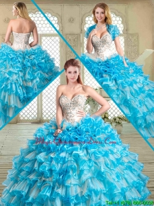 Pretty Floor Length Quinceanera Dresses with Beading and Ruffled Layers