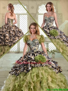 Hot Sale Camo Quinceanera Dresses with Pick Ups and Ruffles for Winter