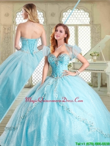 Magic Miss Beading Quinceanera in Aqua Blue