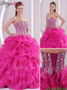 2016 Beautiful Fuchsia Ball Gown Sweetheart Quinceanera Dresses