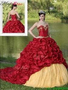 2016 Exclusive Appliques and Pick Ups Brush Train Quinceanera Dresses