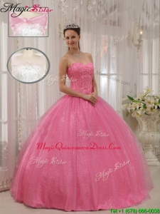 Classic Sweetheart Beading Quinceanera Gowns in Pink