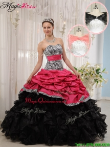 Hot Sale Red and Black Sweetheart Quinceanera Dresses in Zebra