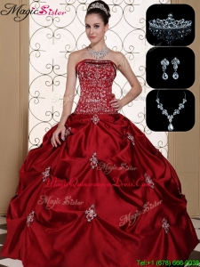 Latest Embroidery Strapless Classic Quinceanera Dresses in Wine Red