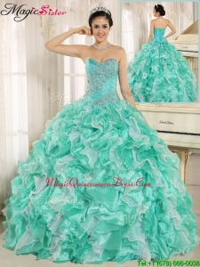 2016 Modern Beading and Ruffles Apple Green Quinceanera Dresses