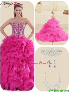 Fashionable Fuchsia Quinceanera Gowns with Ruffles and Beading
