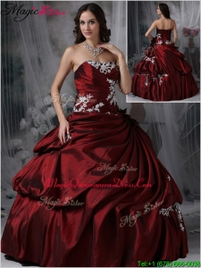 Fashionable Strapless Burgundy Quinceanera Gowns with Appliques
