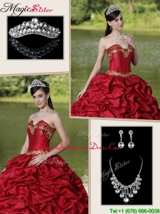 Popular Brush Train Classic Quinceanera Gowns with Appliques and Pick Ups