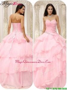 Simple 2016 Sweetheart Discount Quinceanera Dresses in Baby Pink