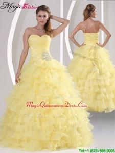 Fashionable Appliques and Ruffled Layers Quinceaners Gowns