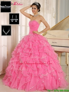Fashionable Rose Pink Quinceanera Dresses with Ruffles and Beading