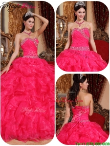 Beautiful Ball Gown Beading Hot Sale Quinceanera Dresses in Coral Red