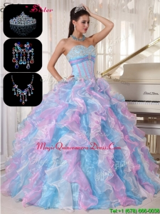 Cheap Ruffles and Appliques Hot Sale Quinceanera Gowns in Multi Color