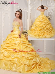 Hot Sale Ball Gown Court Train Appliques and Beading Quinceanera Dresses