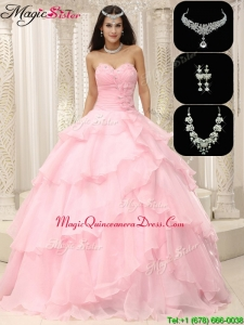 Hot Sale Exquisite Beading and Ruffles Quinceanera Dresses in Baby Pink