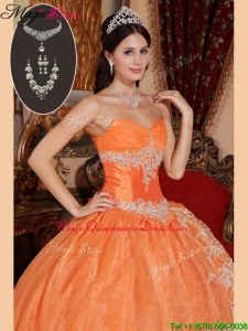 Exquisite Orange Red Luxury Quinceanera Gowns with Beading and Appliques