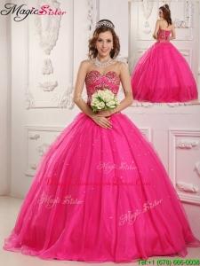 Hot Sale Hot Pink A Line Sweetheart Floor Length Quinceanera Dresses