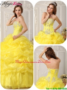 Luxurious Beading and Ruffles Quinceanera Dresses in Yellow