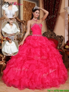 New Style Beading Sweetheart Luxury Quinceanera Dresses in Coral Red