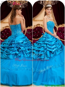 Cheap Strapless Quinceanera Gowns with Appliques and Beading
