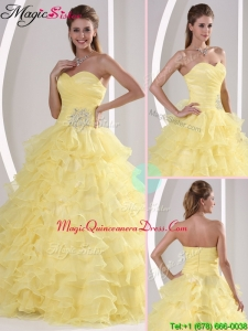 Gorgeous Sweetheart Quinceaners Gowns with Appliques and Ruffled Layers