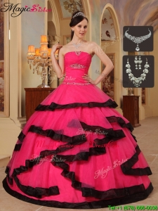 Magic Miss Appliques Quinceanera Dresses in Red and Black
